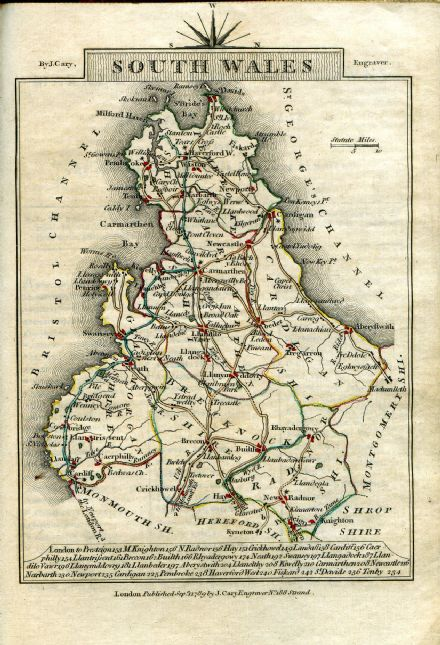 Wales - South  County Map by John Cary 1790 - Reproduction (9)